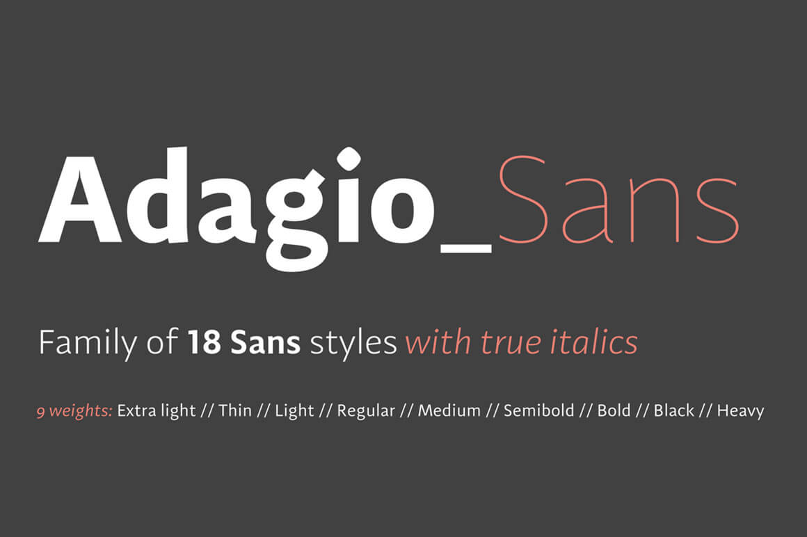Adagio Sans Family 18 Modern Fonts Mightydeals