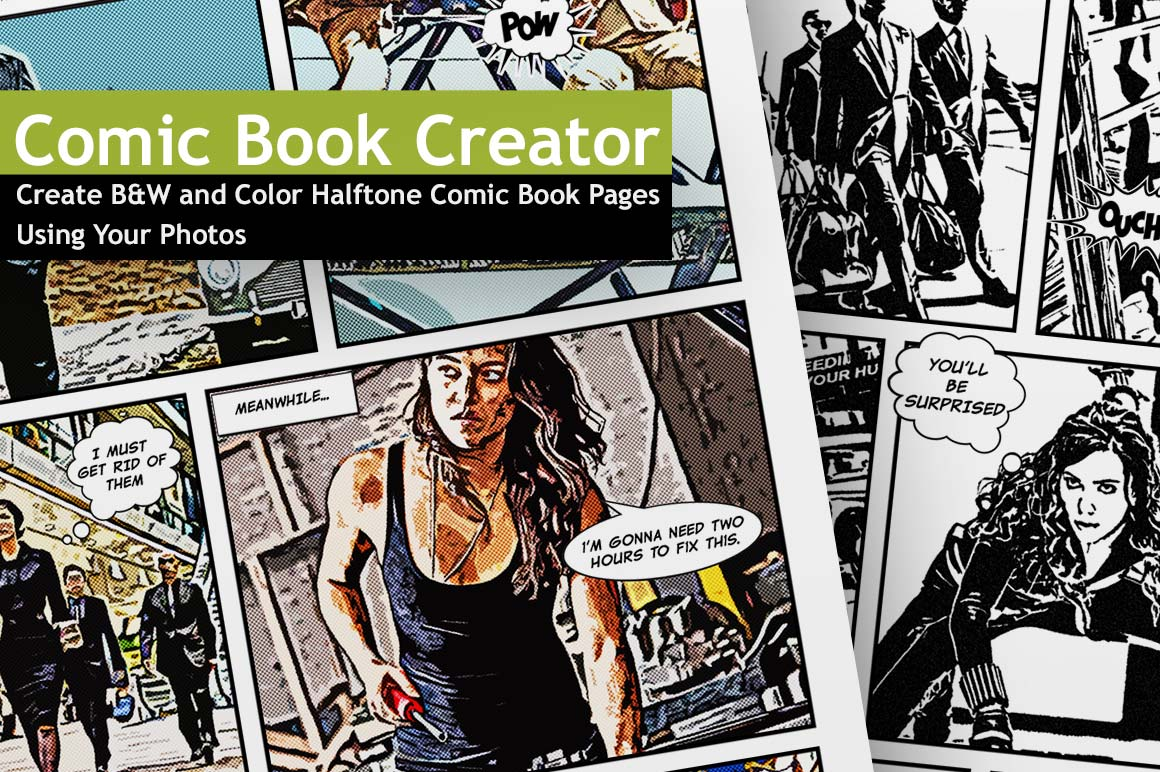 Last day the comic book creator includes 50 b w 50 for Comic book page template psd