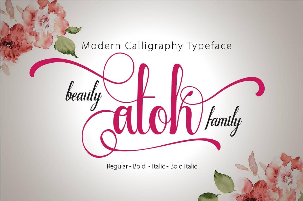 Beauty atok script a modern calligraphy font family