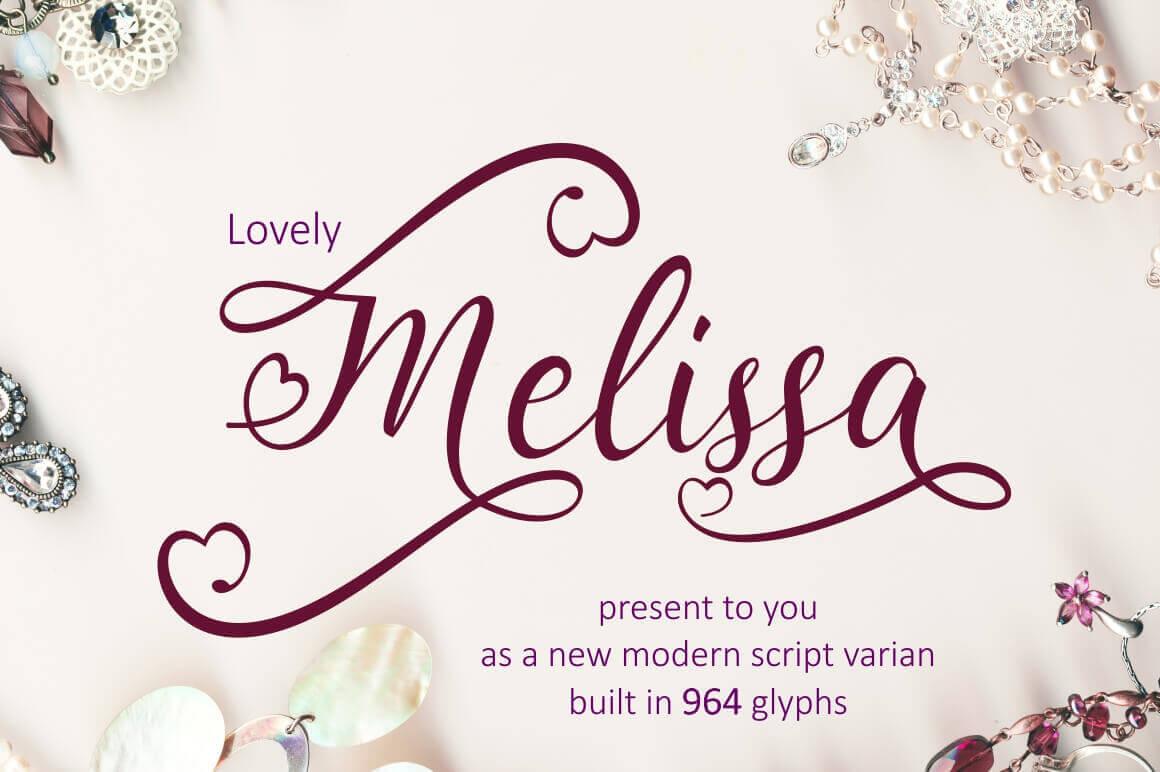 Lovely melissa a modern script font including glyphs