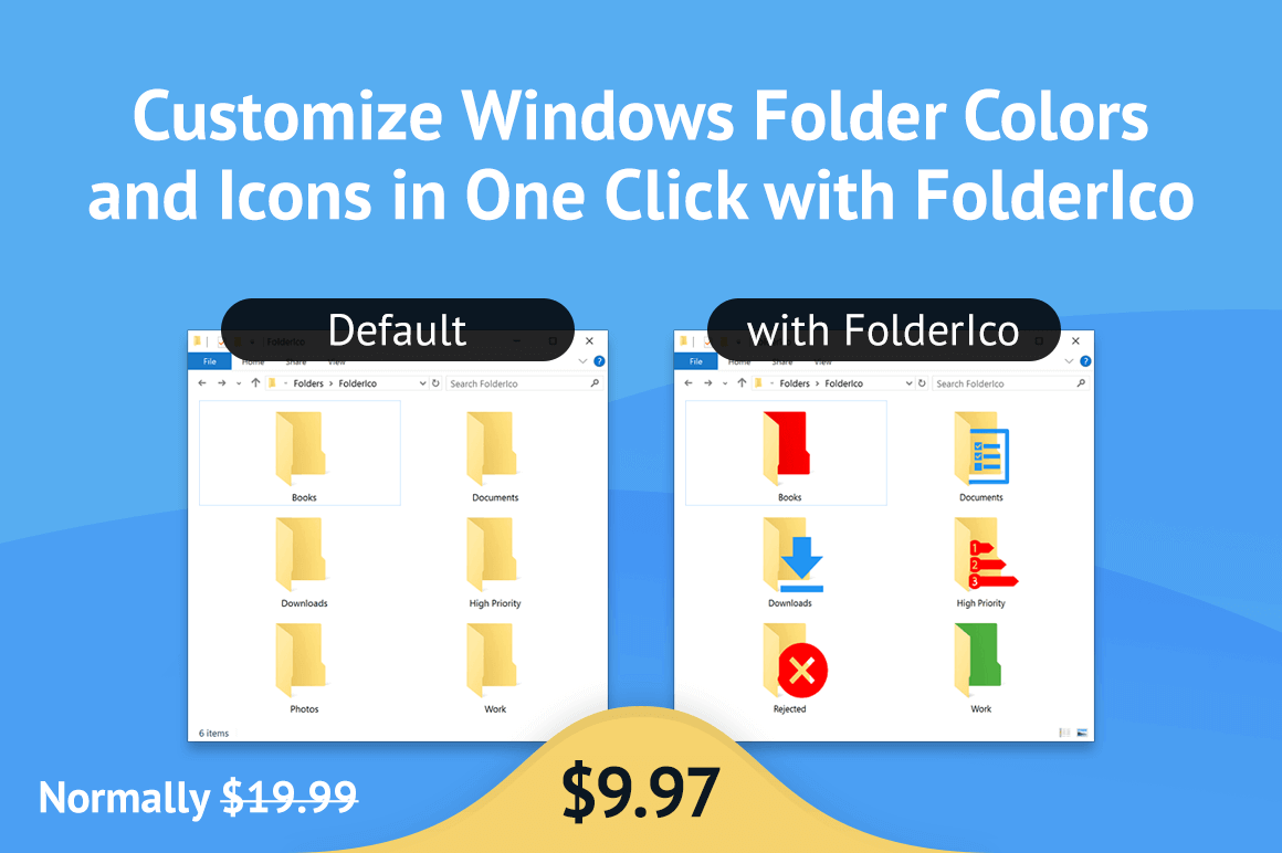 Customize Windows Folder Colors and Icons in One Click with FolderIco - only $9.97!