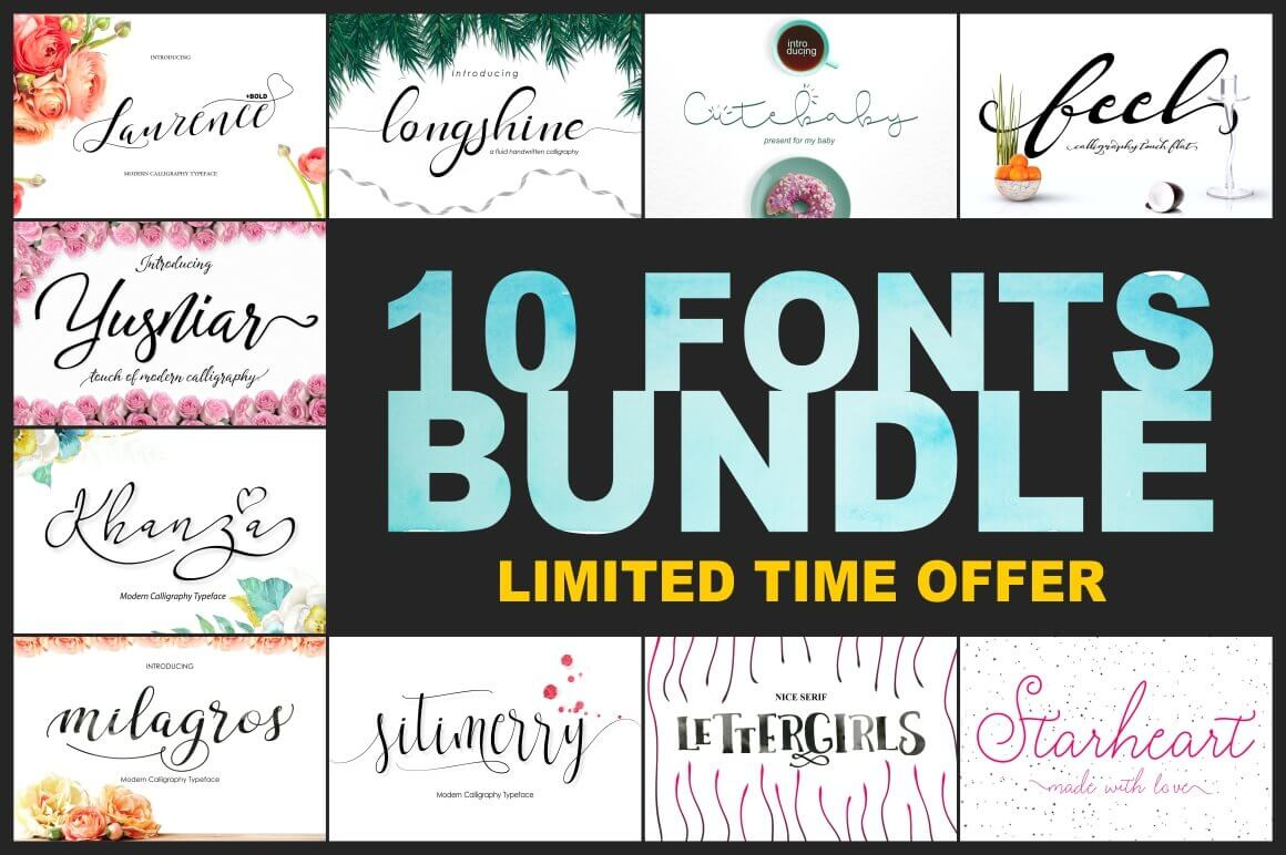10 Gorgeous Hand-Made Script Fonts from BonjourType - only $12!