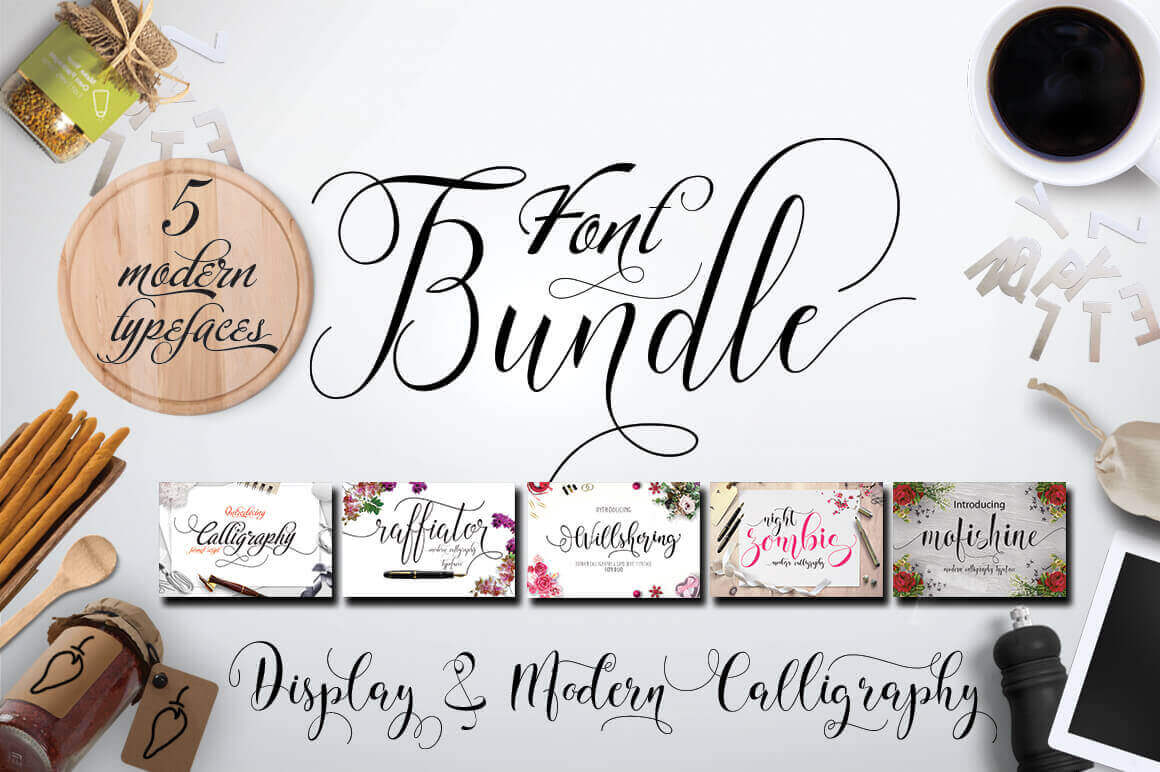 5 Elegant Calligraphy Fonts from Moriztype Studio - only $9!