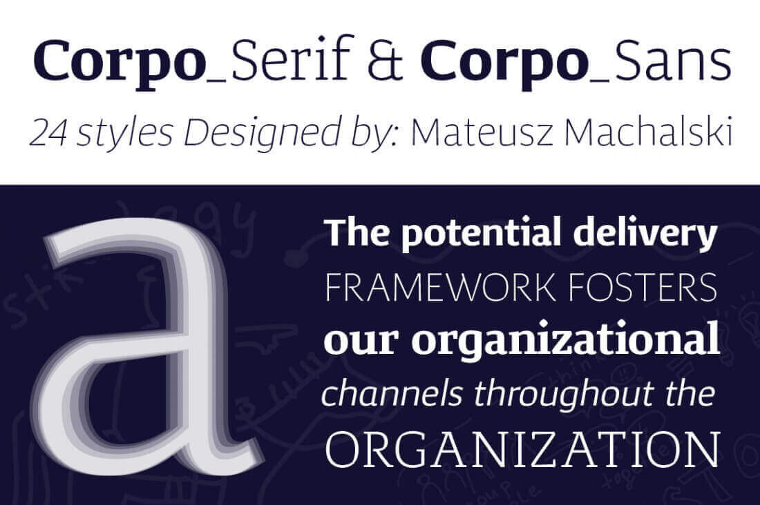 Corpo Font Family: 24 Sans & Serif Typefaces - only $15!