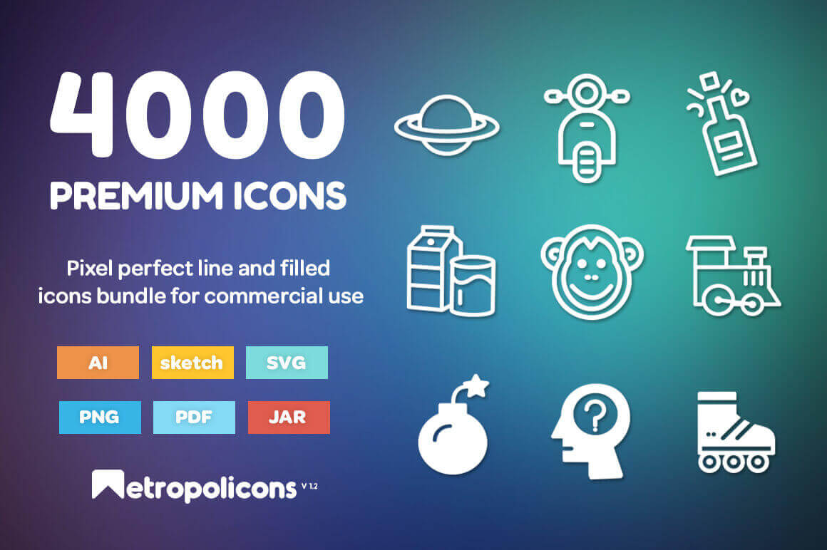 4,000 Premium Line and Filled Icons from Metropolicons - only $27!