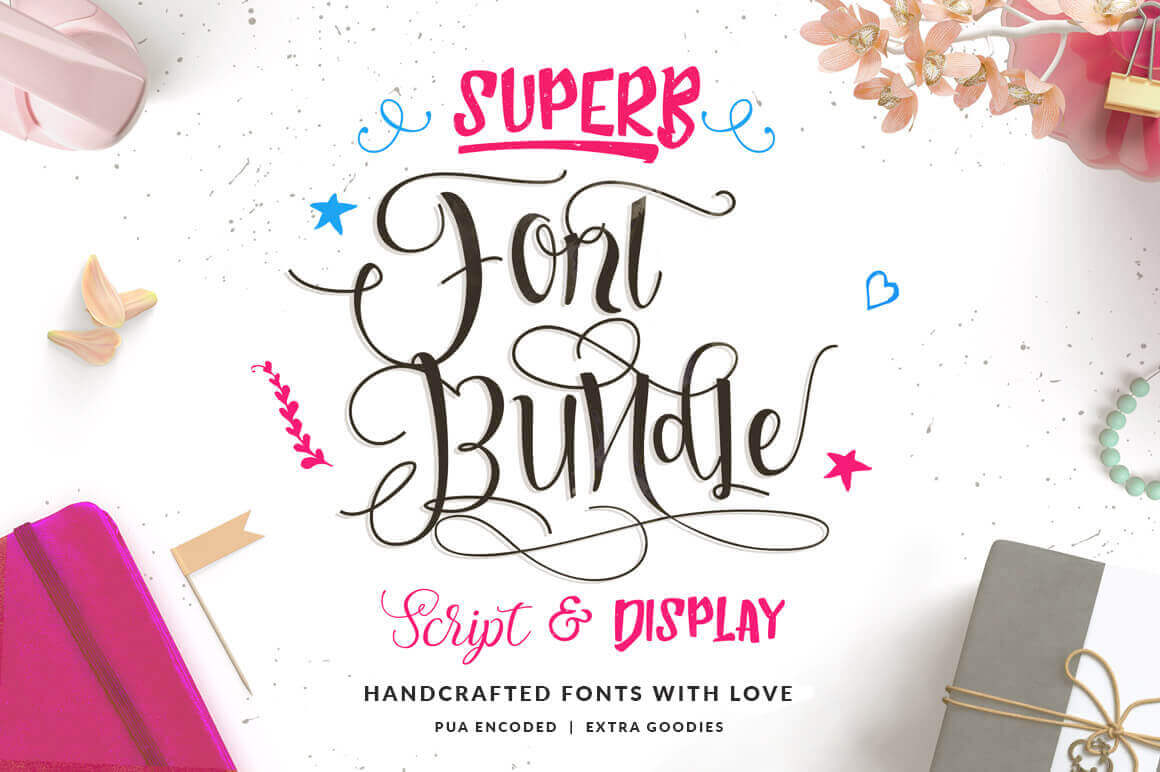 Superb Fonts Bundle of 7 Script & Display Typefaces - only $7!