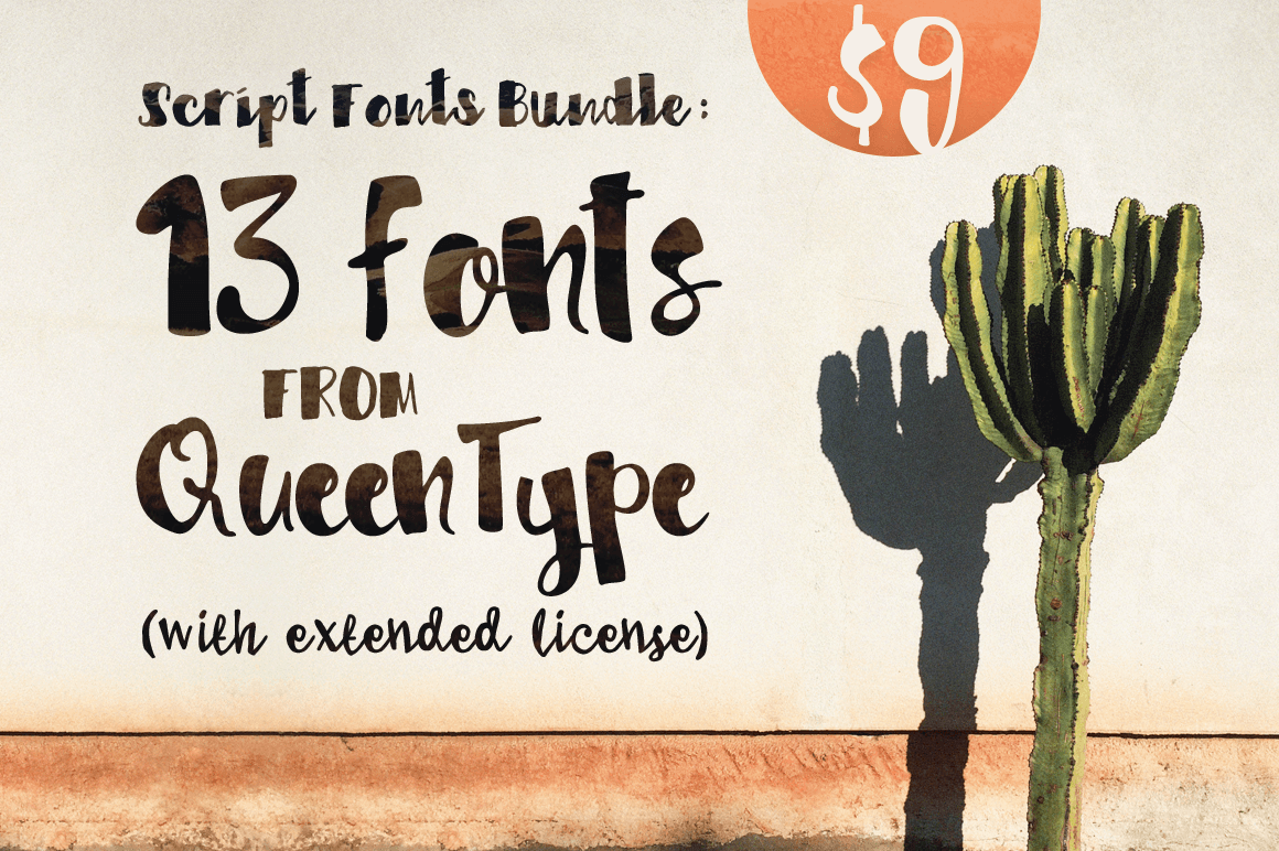 Script Fonts Bundle: 13 Fonts from QueenType (with extended license) - only $9!