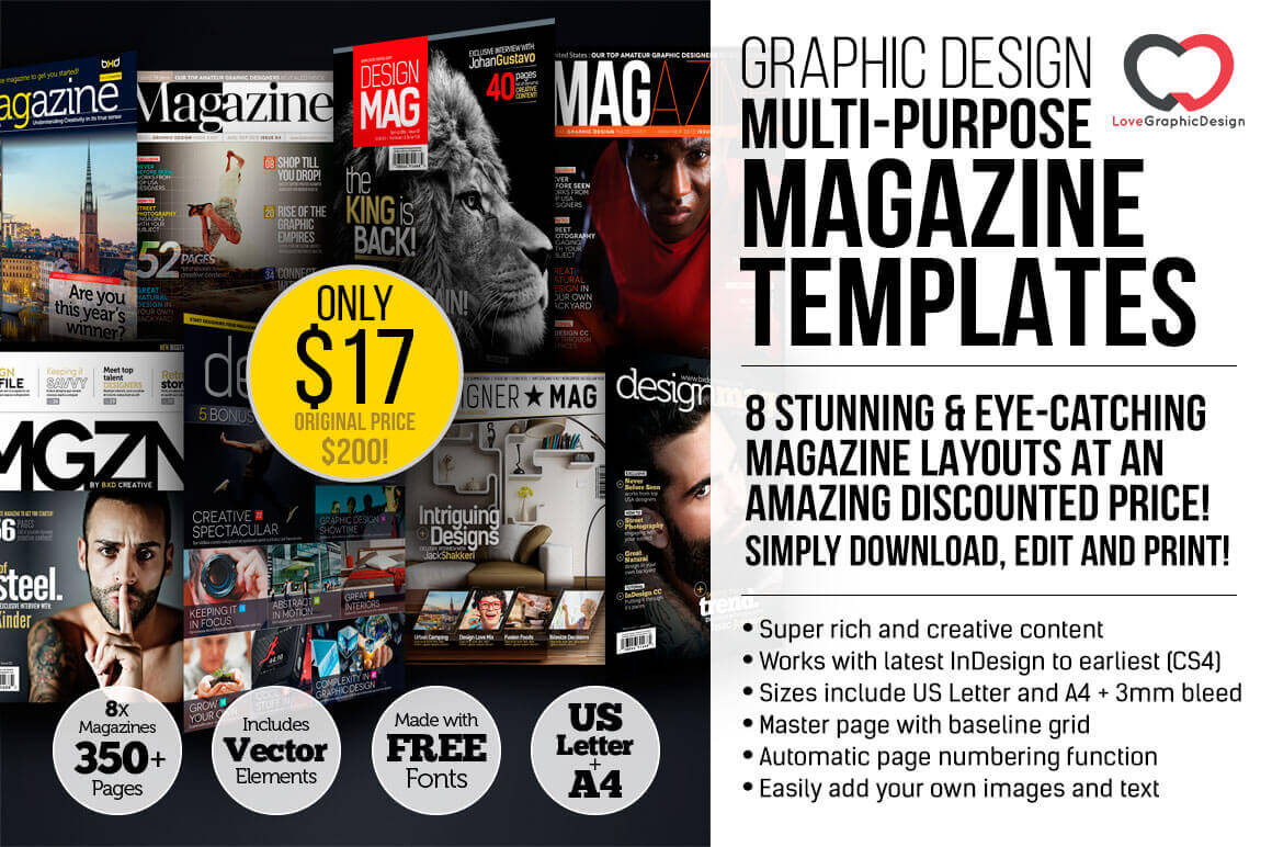 8 Professional Graphic Design Magazine Templates (Over 350 pages)  - only $17!