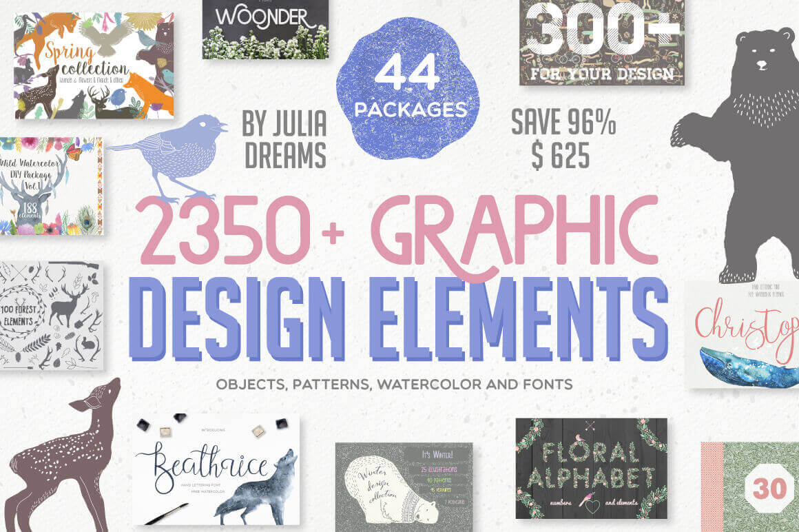 2350+ Graphic Design Elements and Patterns (with Extended License) - $21!