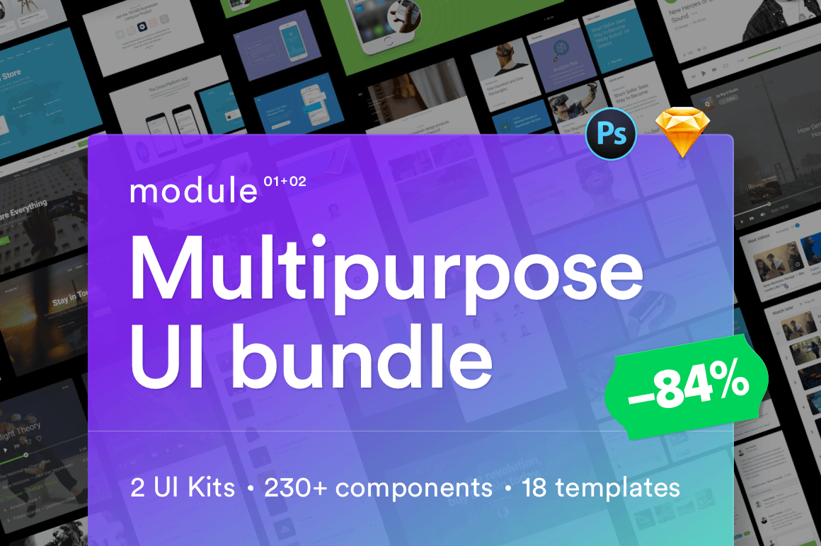 Multipurpose UI Bundle of 230+ components, 18 Full Templates - $19!