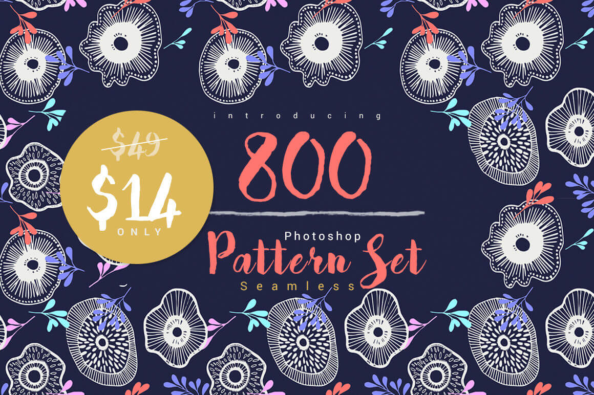 Bundle: 800 High-Quality Seamless Photoshop Patterns - only $14!