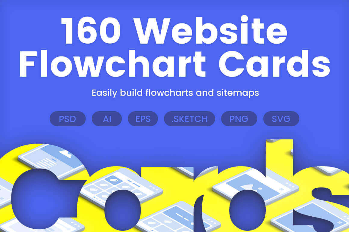 160 Website Flowchart Cards  from The UI Shop - only $7!