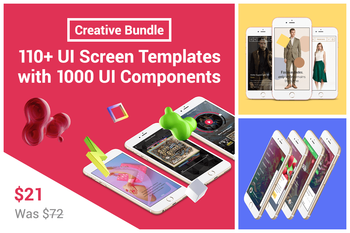 Creative Bundle: 110+ UI Screen Templates with 1000 UI Components - only $21!