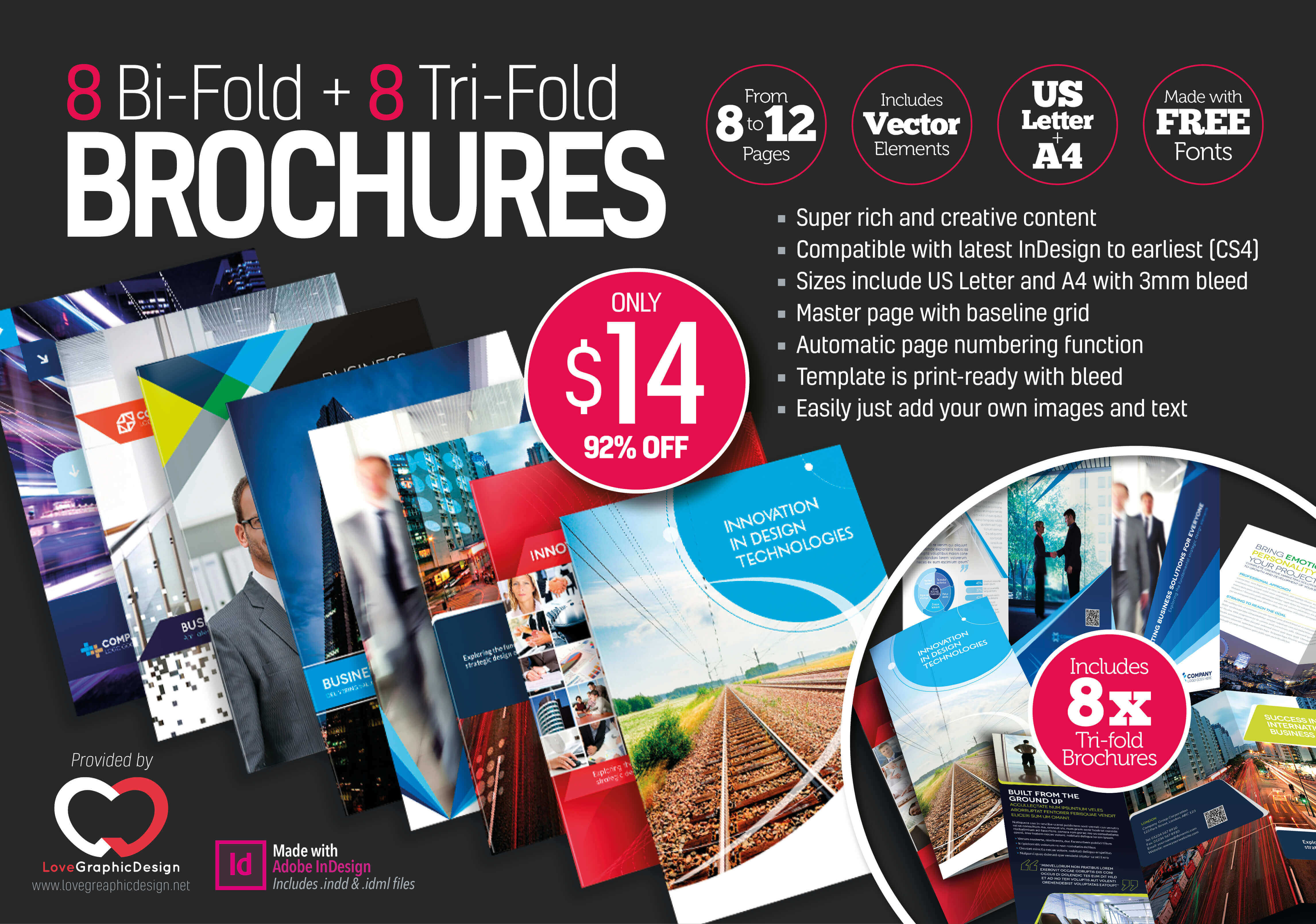 8 Print-Ready InDesign Bi-Fold & Tri-Fold Brochure Templates - only ...