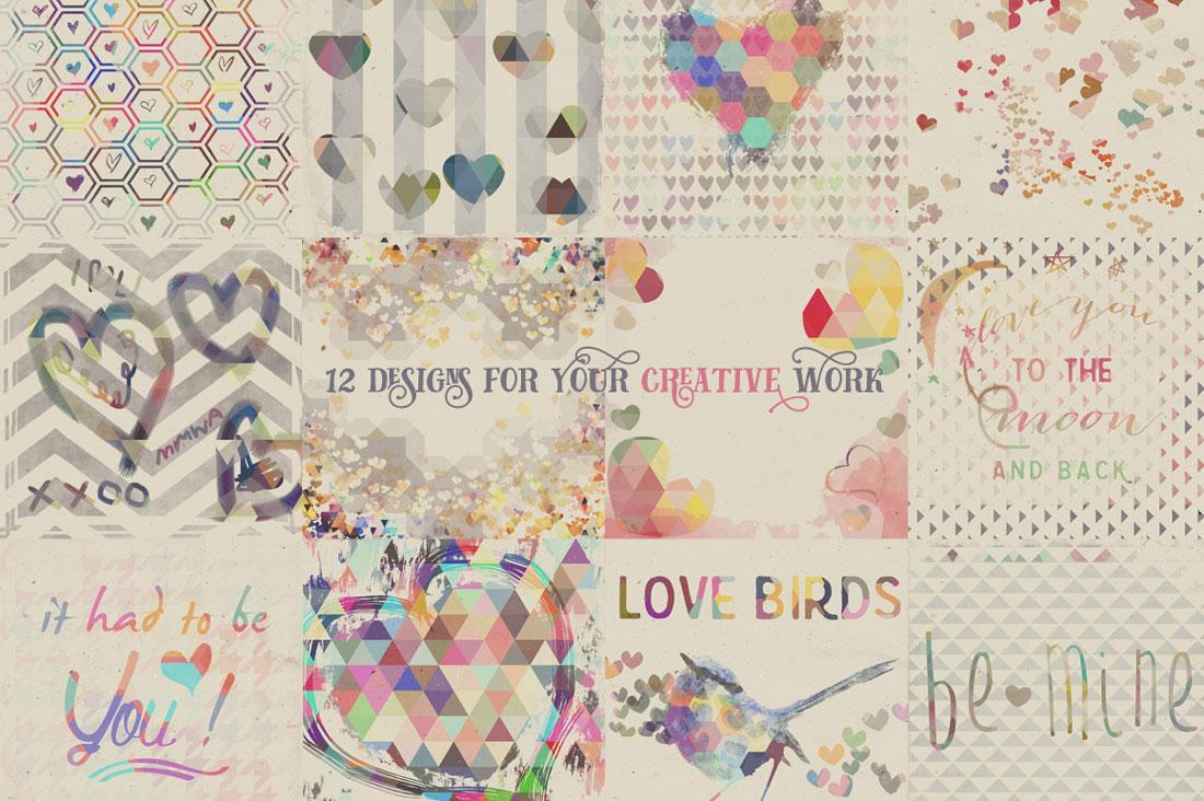 16 Textured Birds Collage