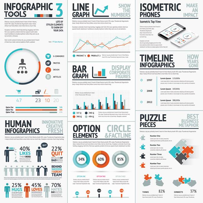 03 Infographic Big Set 3 Blue&Red