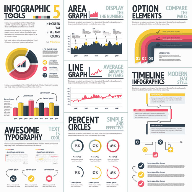 05 Big Infographic Set 5 Red And Yellow