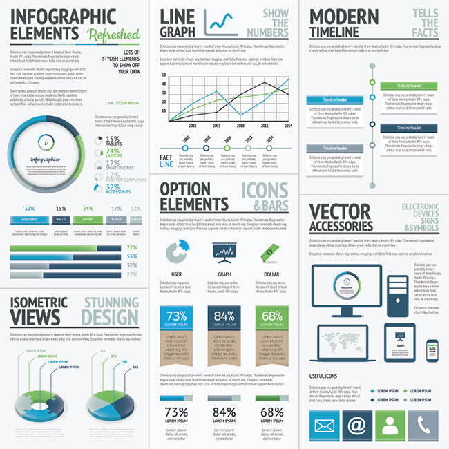 06 Infographic Business Elements Green Blue Vector Big Set