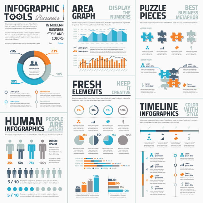 08 Infographic Tools Business Edition Blue Orange