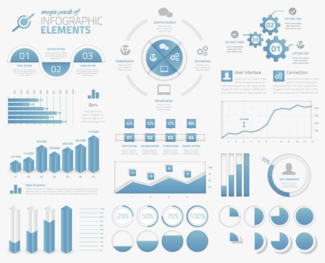 12 Big Set Of Blue Infographic Business Elements