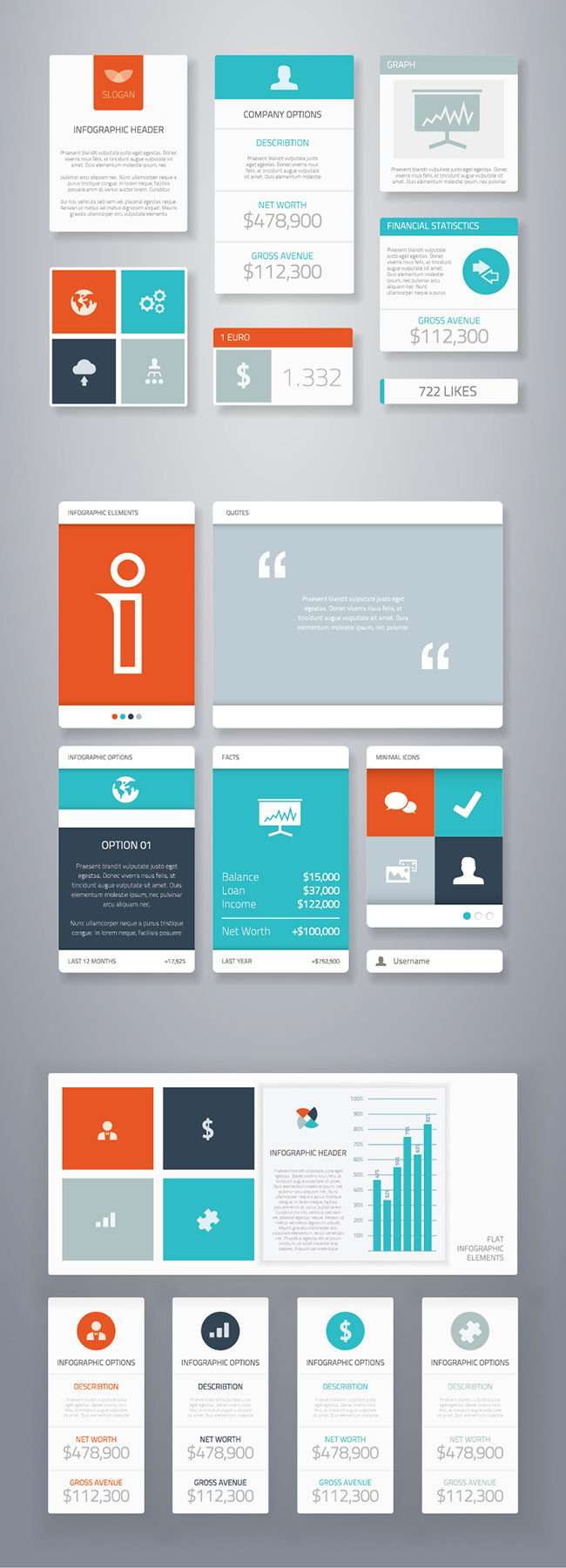 19 Flat Ui Infographic Vector Elements