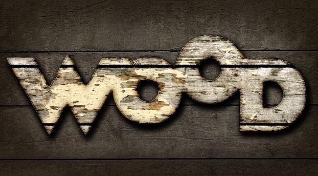 Worn Wood Text Photoshop