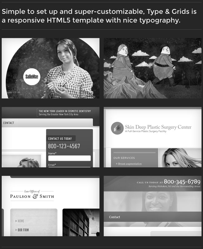 Type & Grids: Responsive HTML5 Template   only $27!