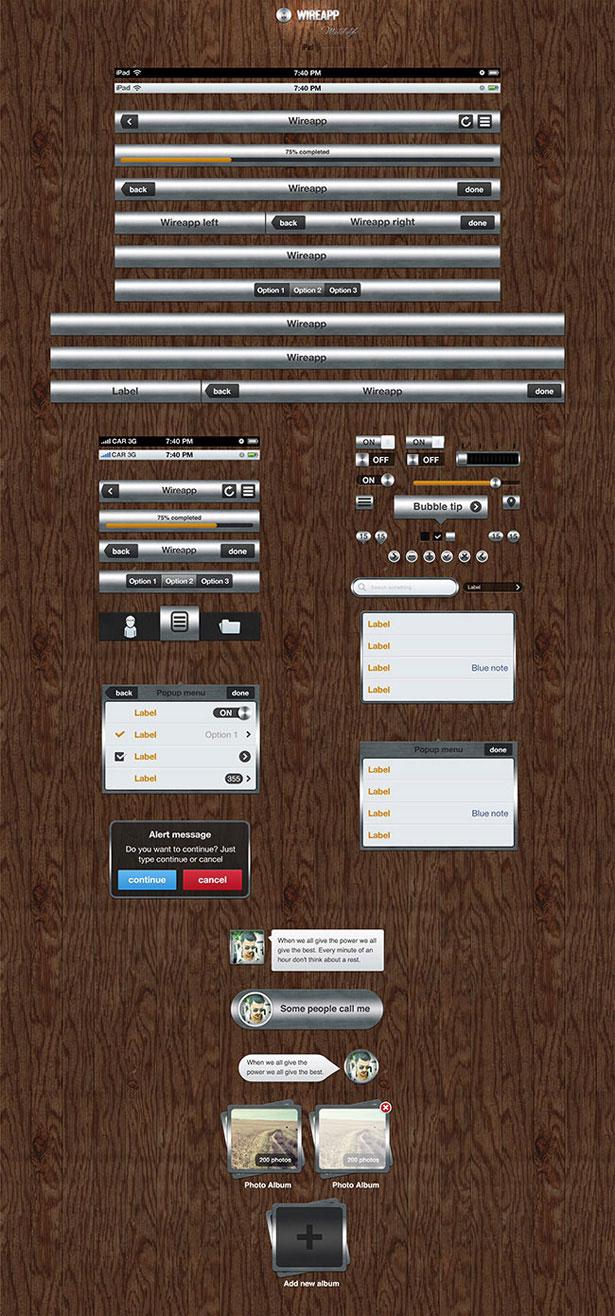 Wireapp Mobile UI Set - Metal Style