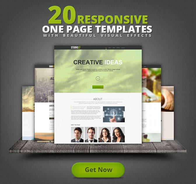 20 One-Page Responsive Templates with Parallax Effect - only $19!