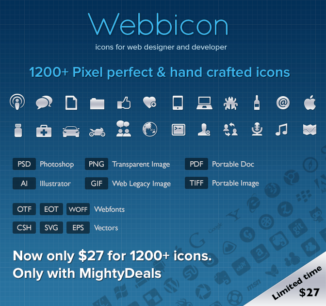 Over 1,200 Pixel Perfect Hand Crafted High-Quality Icons - only $27!