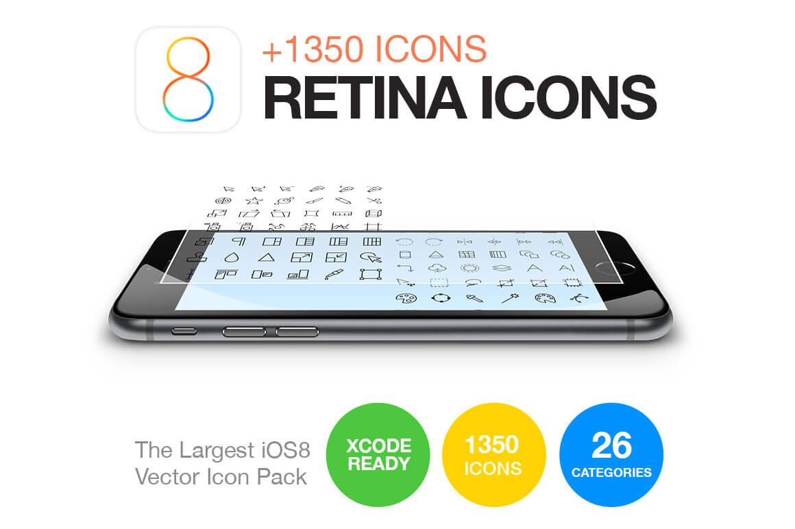 LAST DAY: 1350+ Retina Vector Icons For iOS 8 & iOS 7