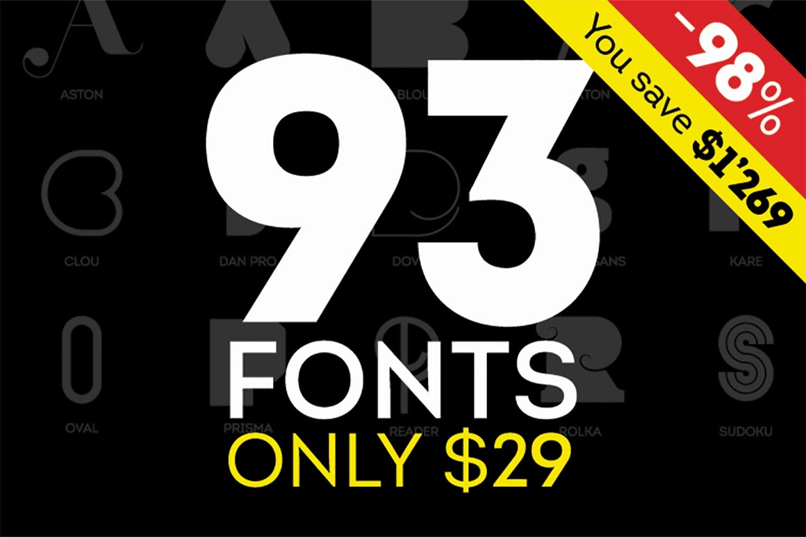 LAST DAY: Fontfabric Font Bundle of 90+ Fonts - only $29