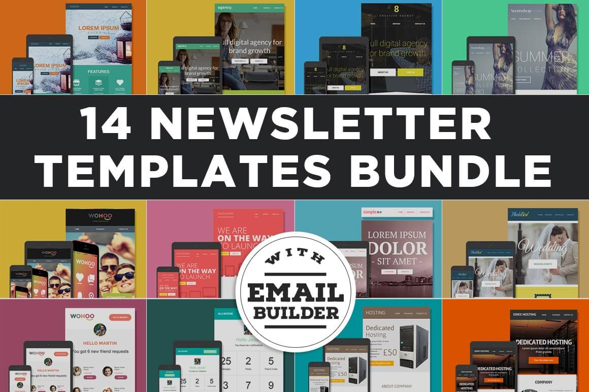Bundle Of Email Newsletter Templates MailChimp Compatible Only - Drag and drop mailchimp templates