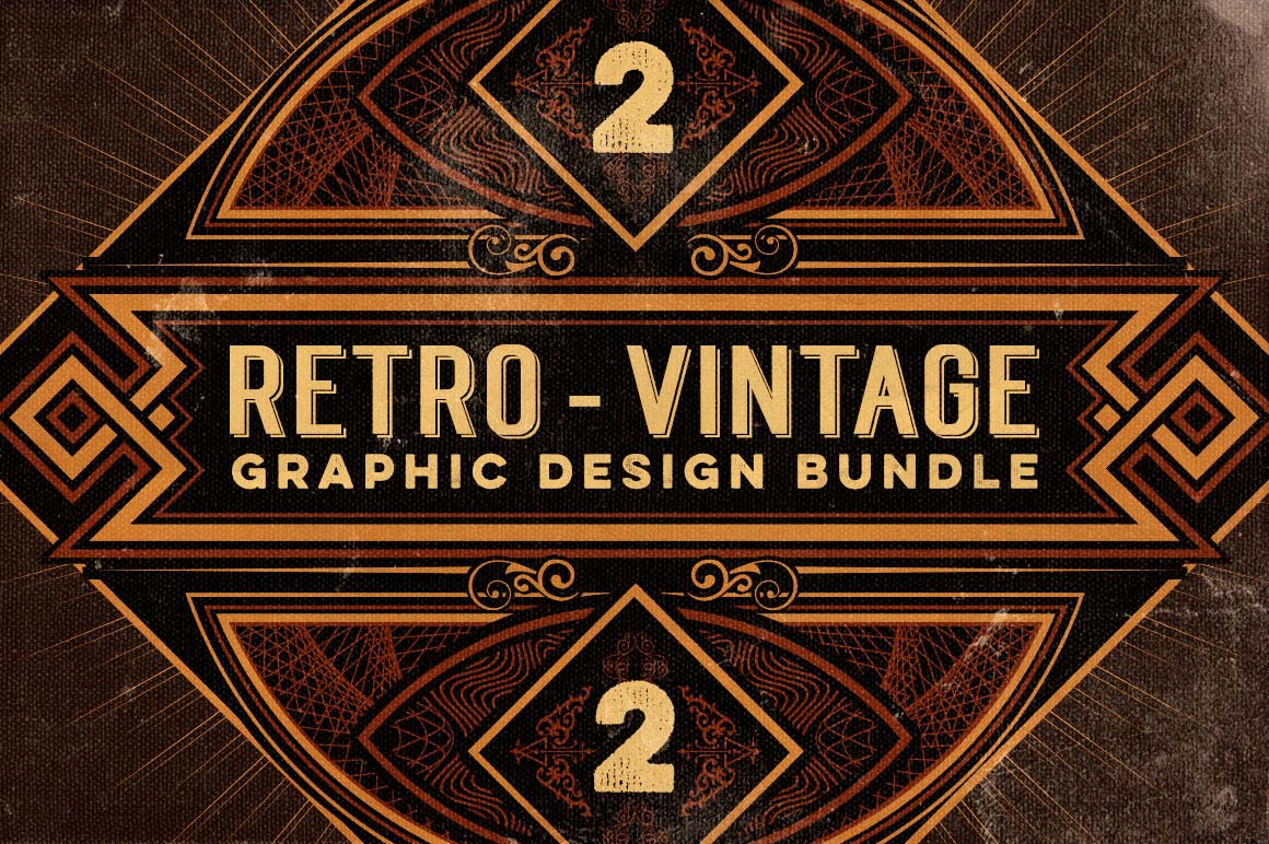 Last chance bundle of 500 retro vintage design elements - Retro vintage ...