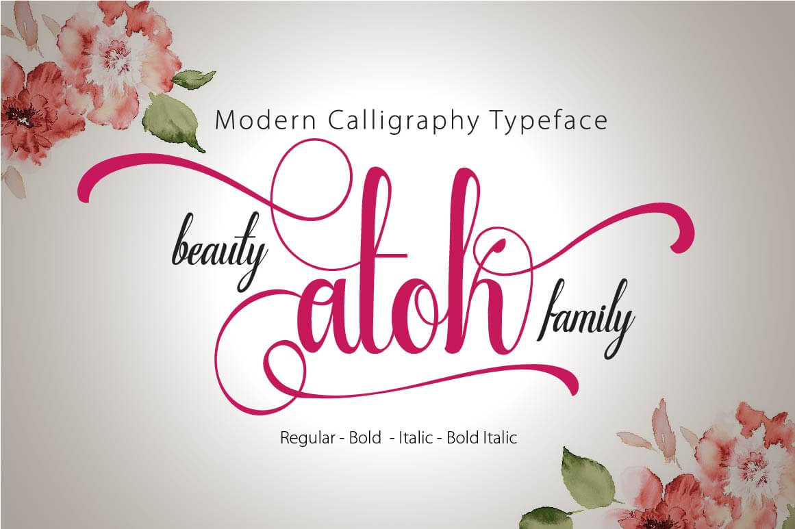 Beauty atok script a modern calligraphy font family only