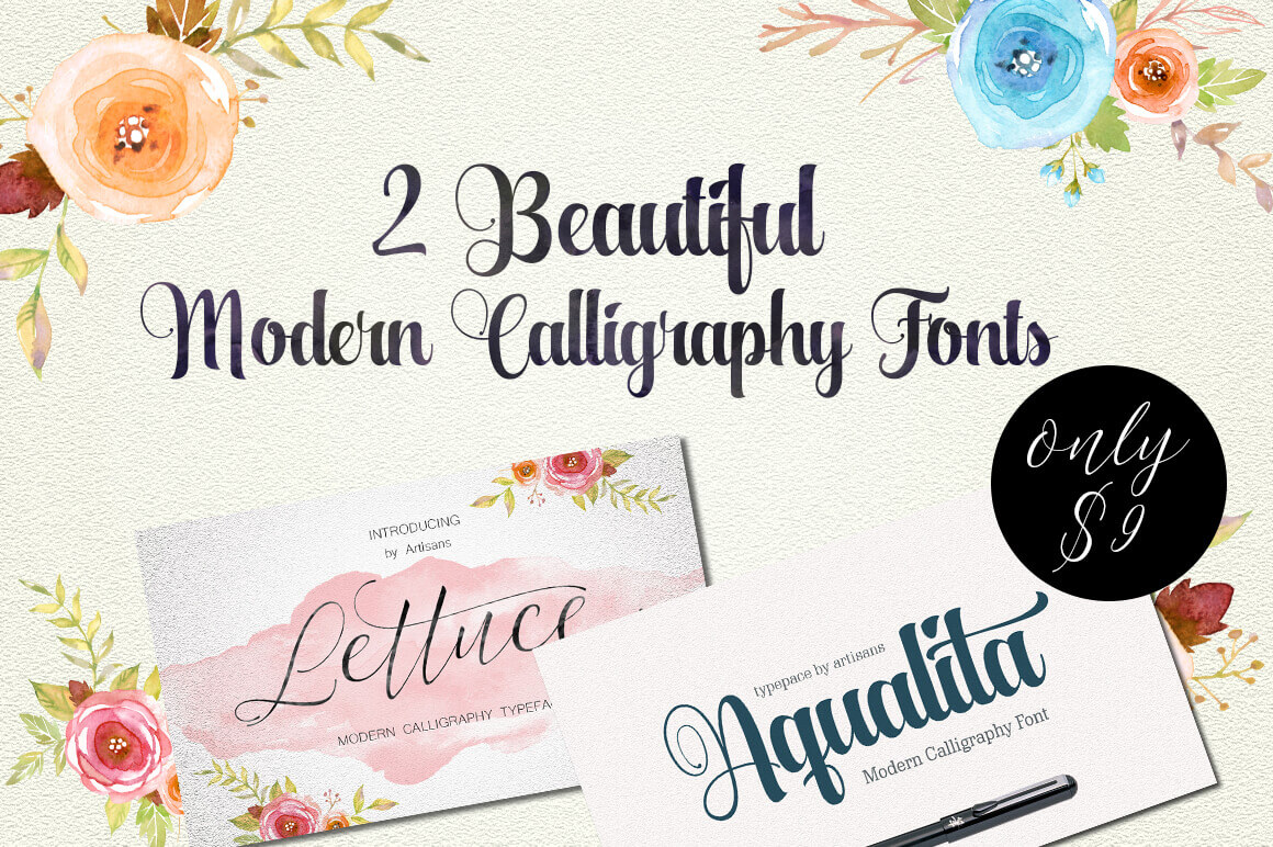 A Perfect Duo of Beautiful Modern Calligraphy Fonts - only ...