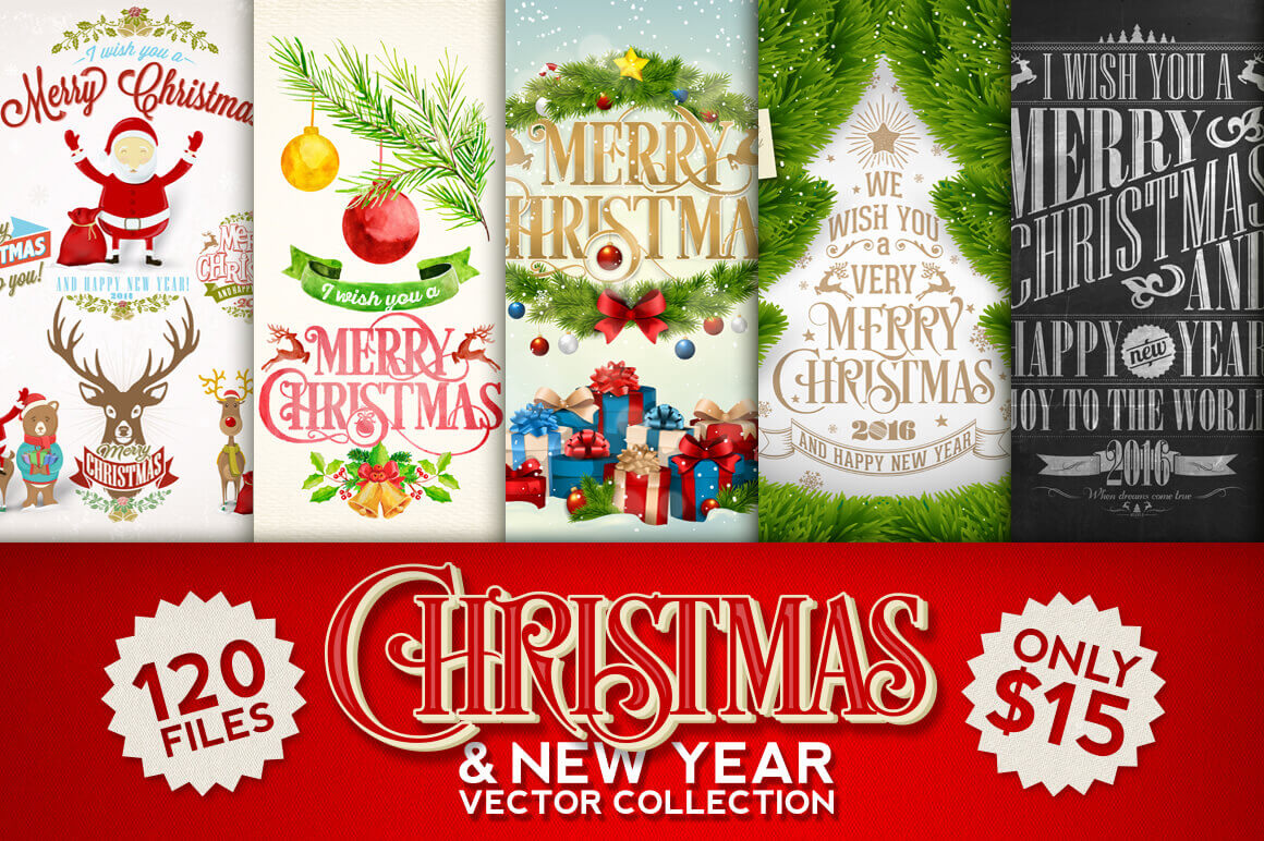 100 premium christmas and new year vectors only 15 - Christmas Deals 2015