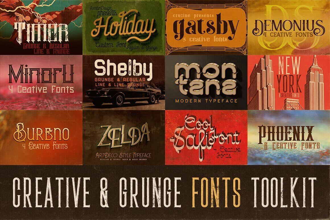The Creative Grunge Font Toolkit 12 Families
