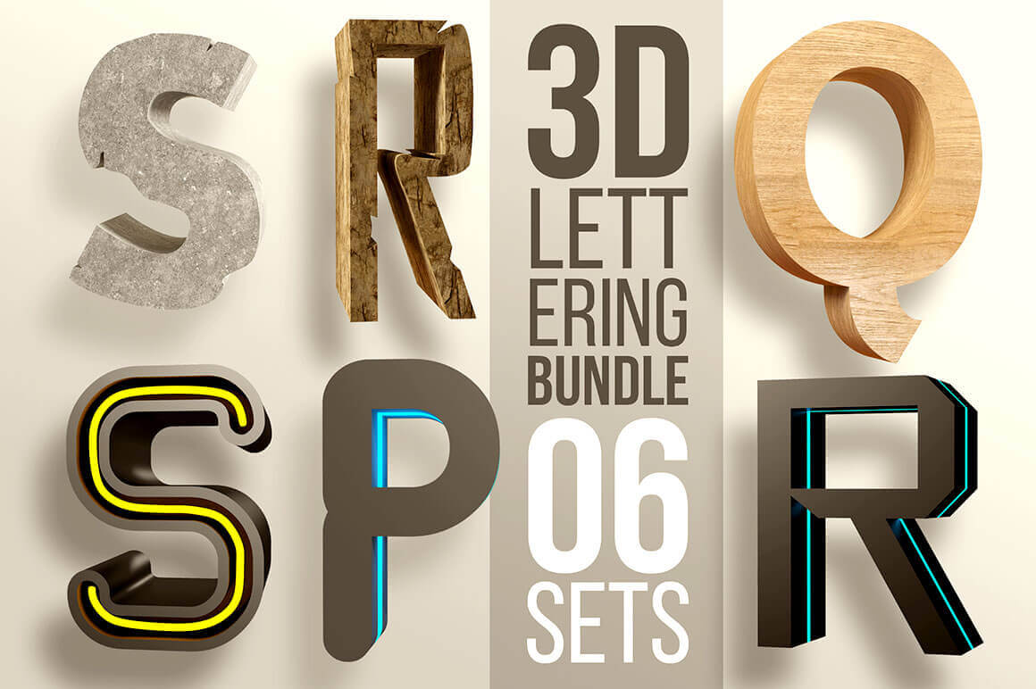 3D Lettering Mega Bundle with Extended License - only $6