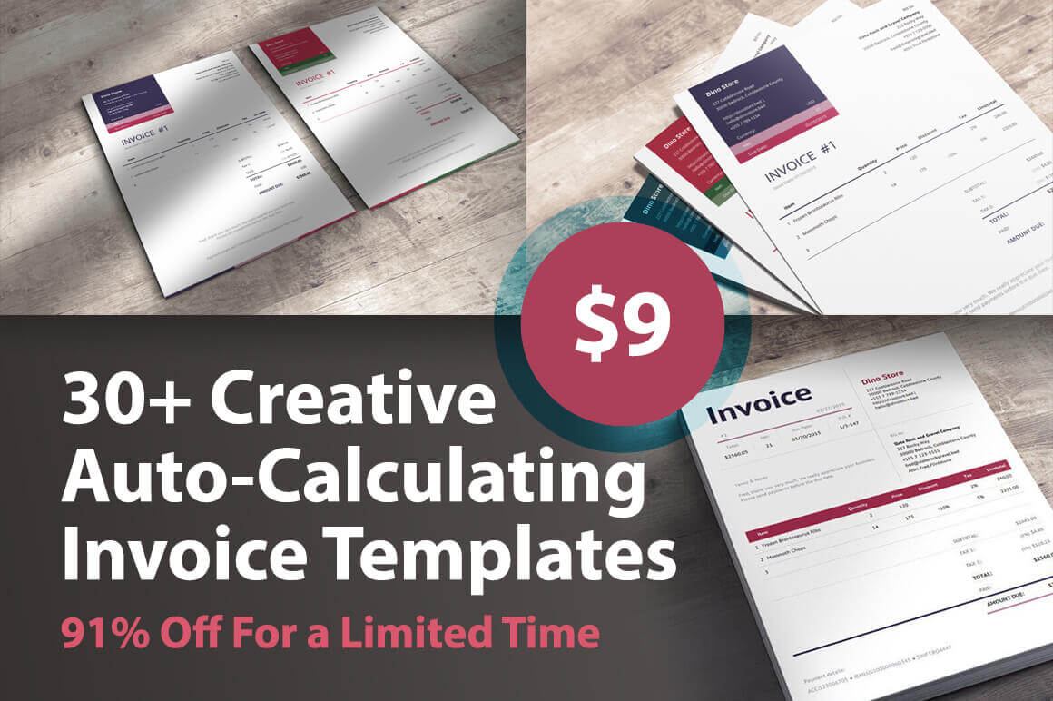 30+ Creative Auto-Calculating Invoice Templates - only $9! - MightyDeals