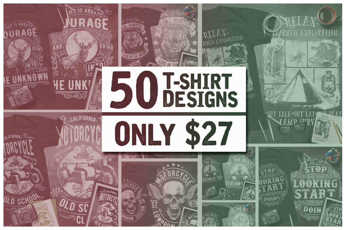 48b3e4fef38 LAST DAY: 50 Premium T-Shirt Designs with Extended License - only ...