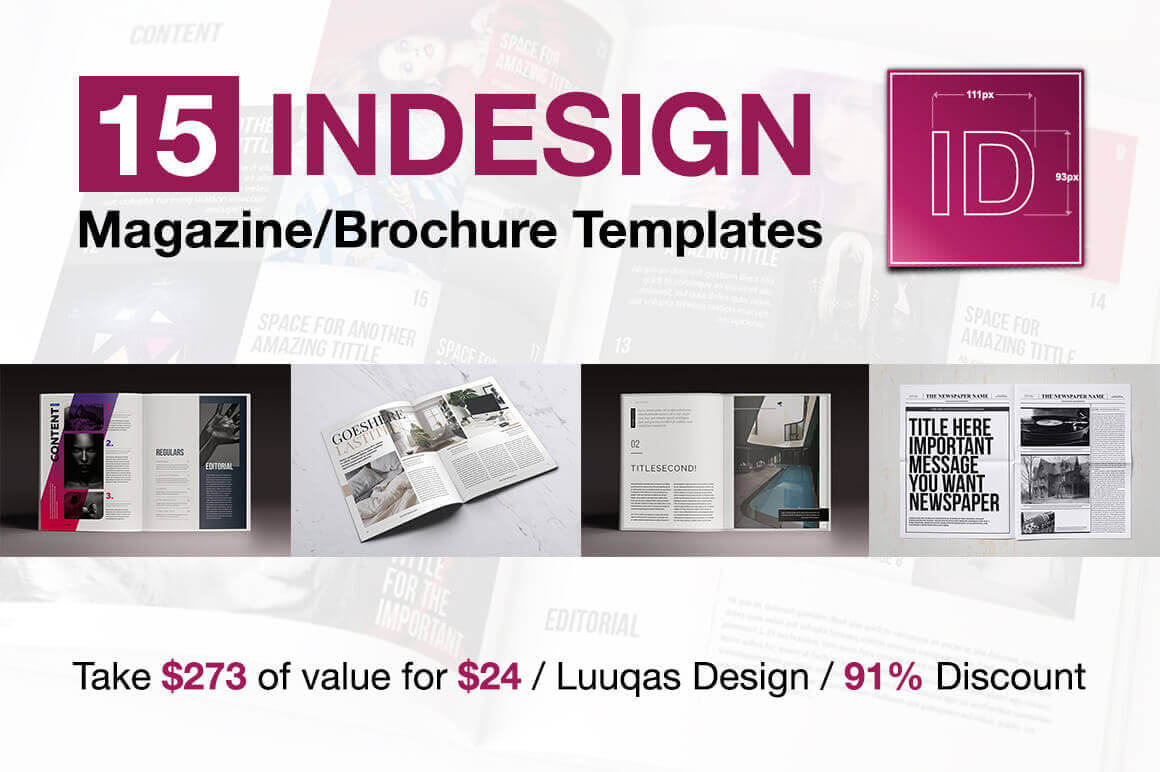 last chance 15 indesign magazine brochure templates only 24 mightydeals. Black Bedroom Furniture Sets. Home Design Ideas