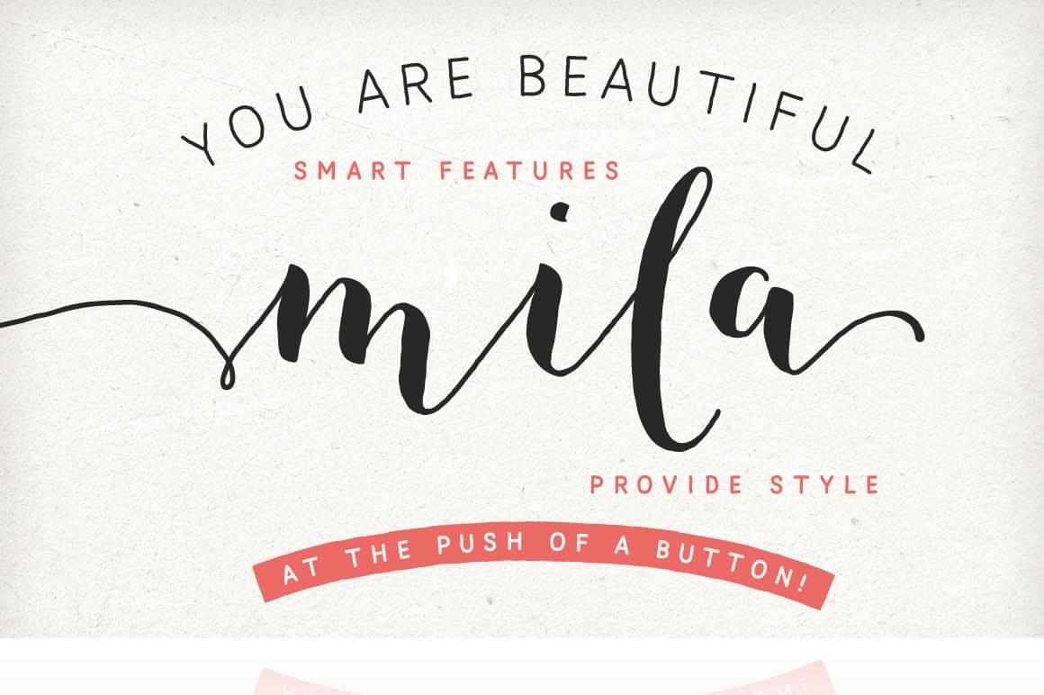 The Mila Script Pro Font Family Sans Ornaments Only 9