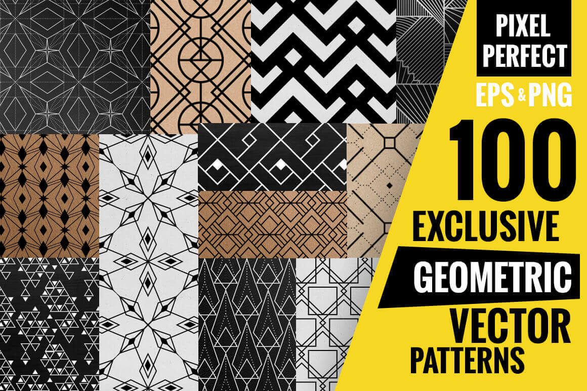 100 Exclusive Geometric Vector Patterns - only $12