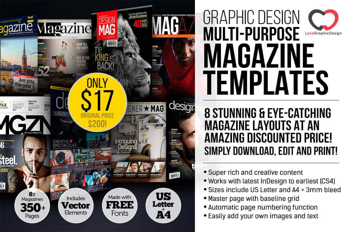 Bien connu 8 Professional Graphic Design Magazine Templates (over 350 pages  FN19