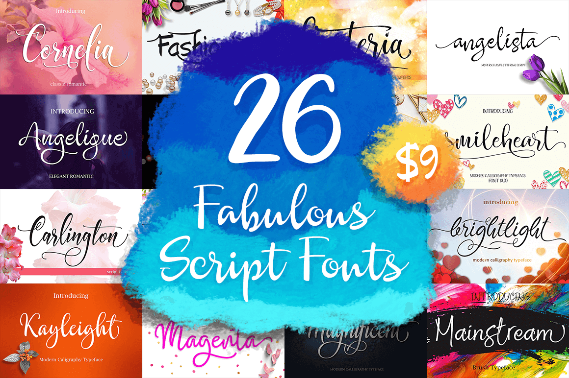 26 Fabulous Scripts Fonts - only $9! - MightyDeals