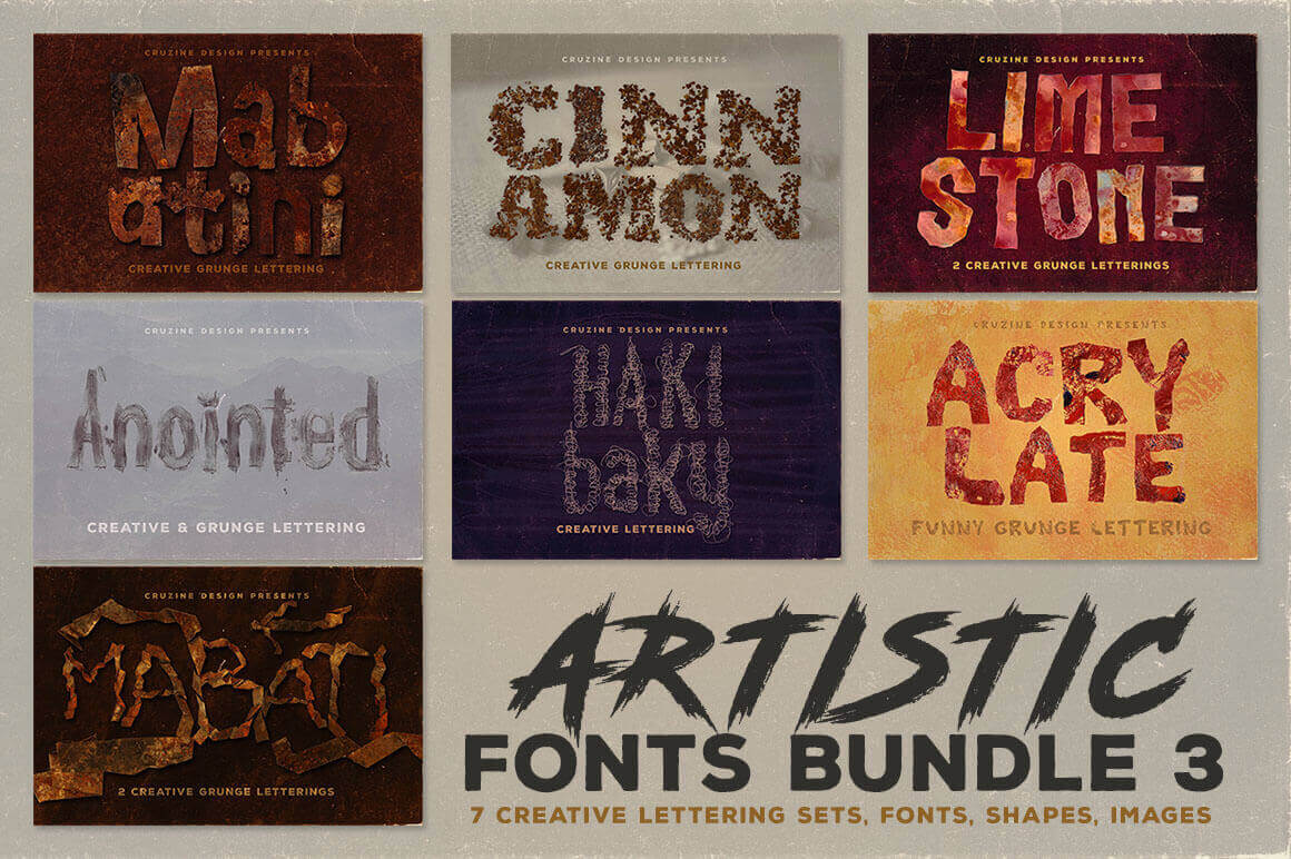 300 Artistic Fonts Backgrounds Graphics More From Cruzine Only 8 Mightydeals