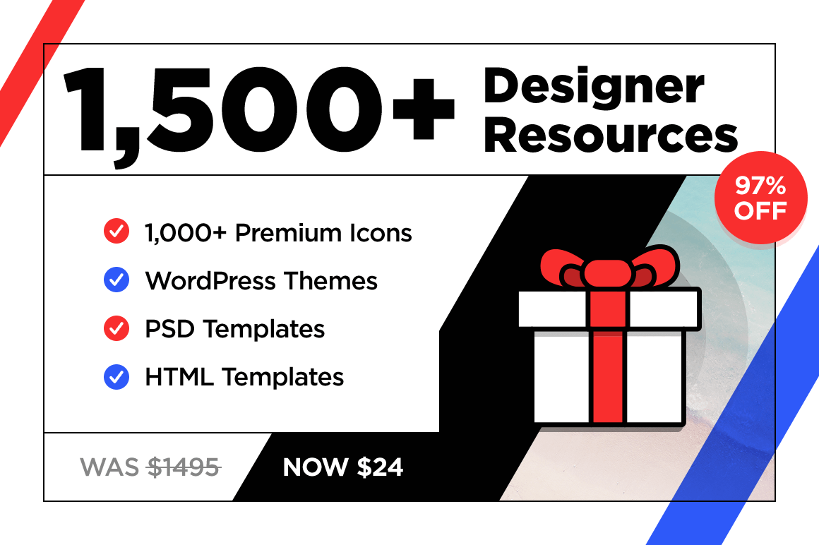 1,500+ Designer Resources: Premium Icons, Plus HTML, WordPress PSD Templates - 98% off!
