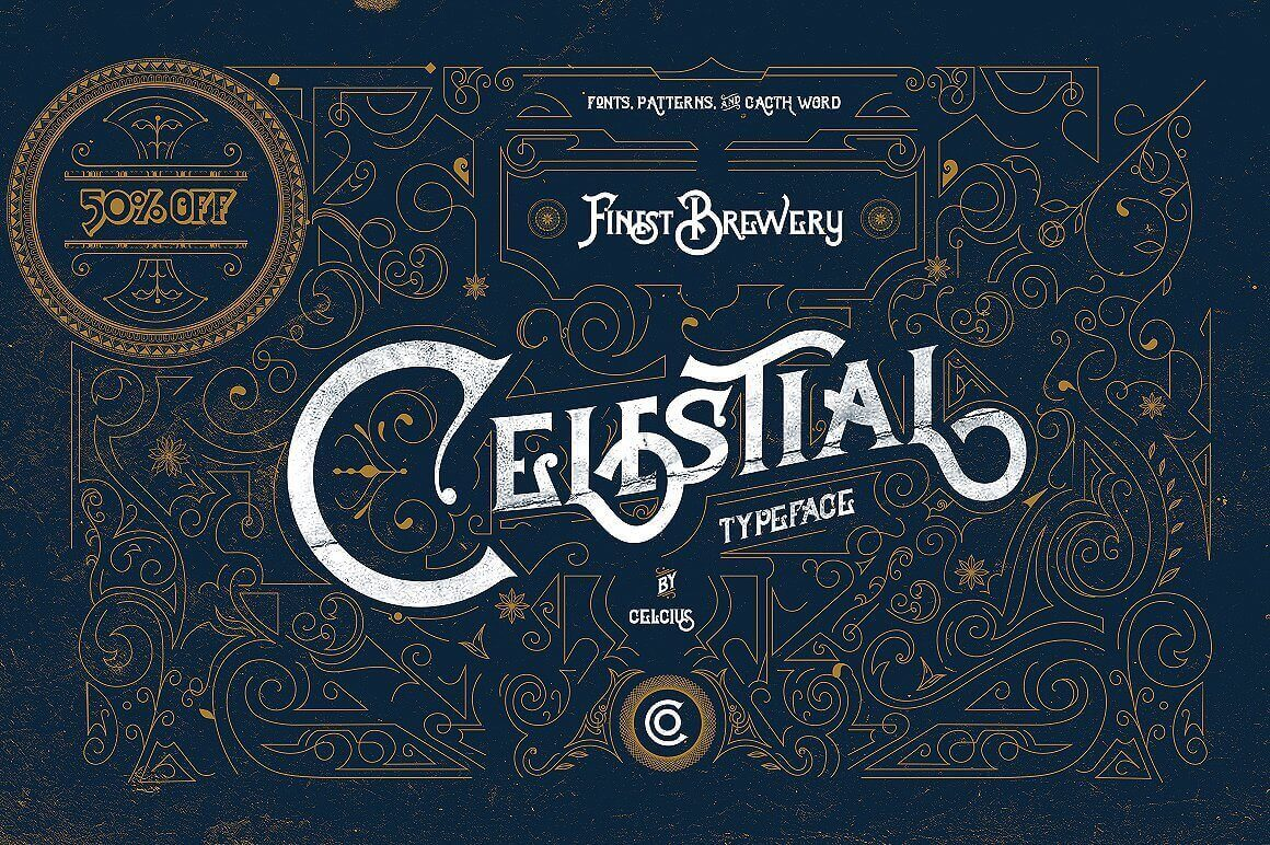 Celestial Typeface Offers Antique, Victorian Style - only $9