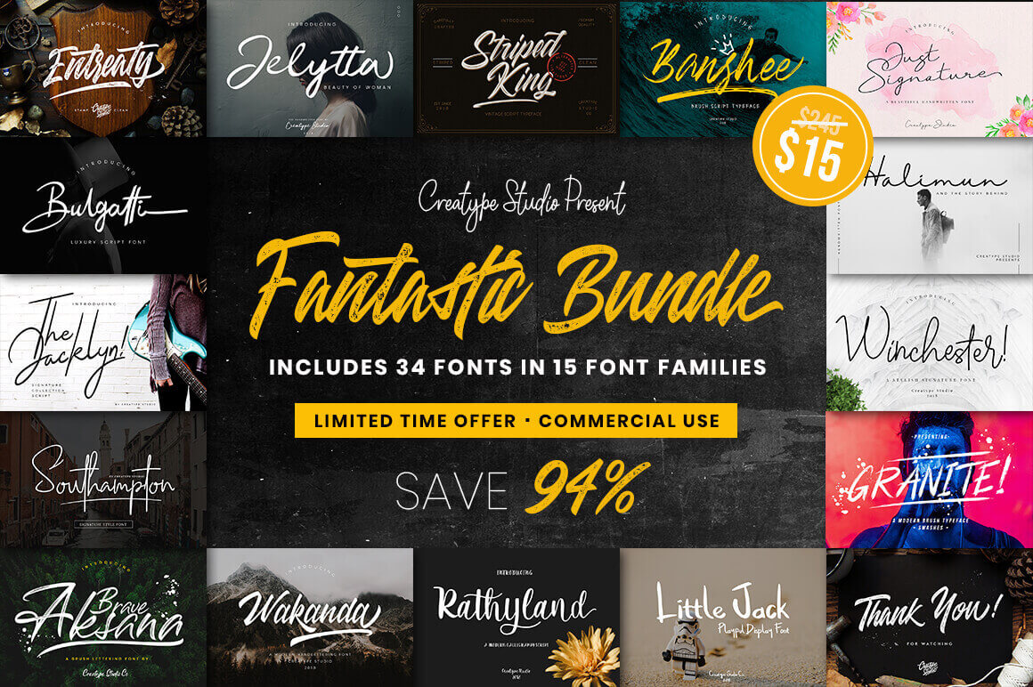 LAST CHANCE: 30+ Hand-Lettered Fonts from Creatype Studio